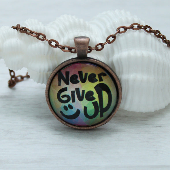 never give up inspirational jewelry necklace, favored whispers, copper