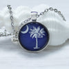 South Carolina State Flag cabochon necklace, palmetto tree with love charm, white on blue background by Favored Whispers