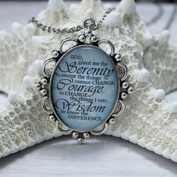 Serenity Prayer Oval Necklace