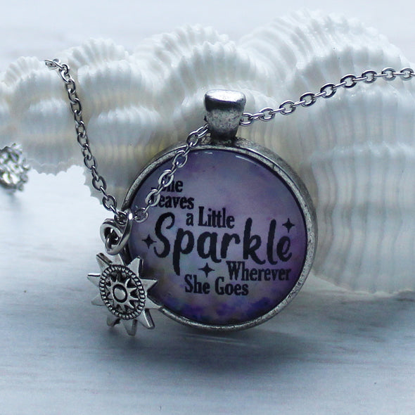 She Leaves A Little Sparkle Necklace with Sun Charm on 22 inch chain by Favored Whispers
