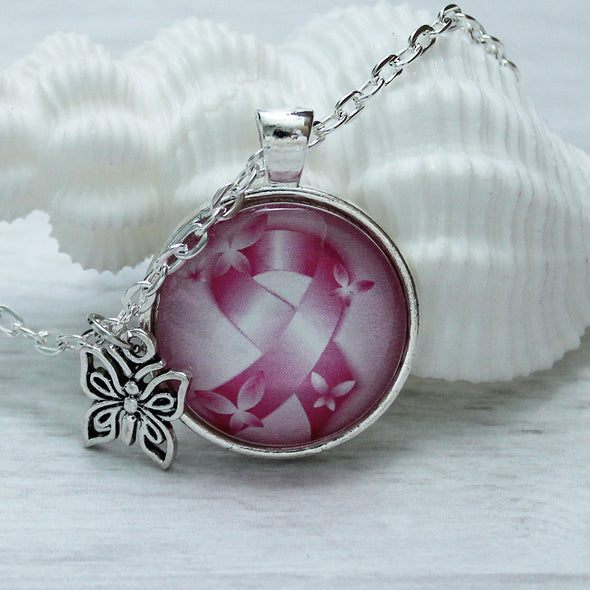 Pink Ribbon Butterflies Breast Cancer Awareness Necklace