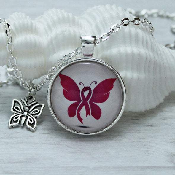 Pink Butterfly Ribbon Breast Cancer Survivor Necklace