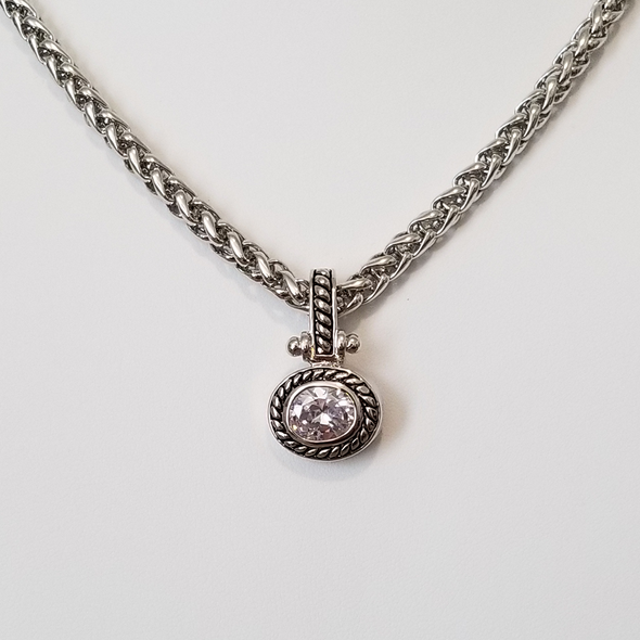 "CZ Antique Oblong Necklace 17"" Necklace - Favored Whispers"
