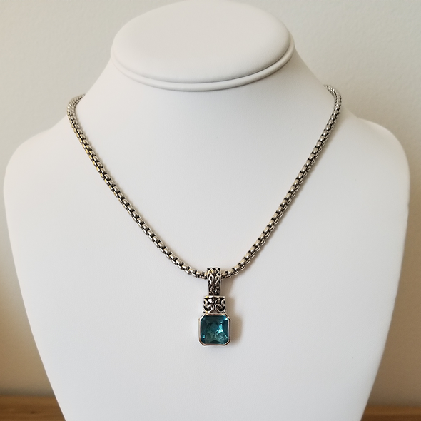 "Aqua CZ Necklace 16.5"" Necklace - Favored Whispers"