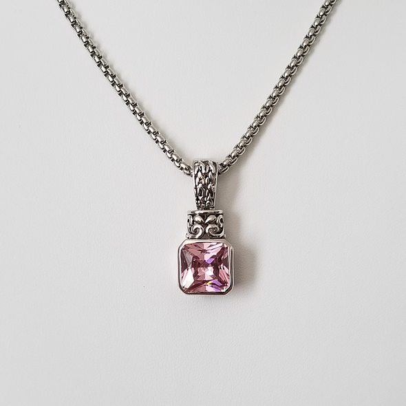 "Pink CZ Pendant Necklace 16.5"" Necklace - Favored Whispers"