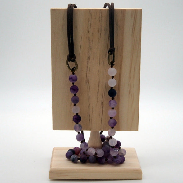 Purple and Leatherette Corded Necklace Necklace - Favored Whispers