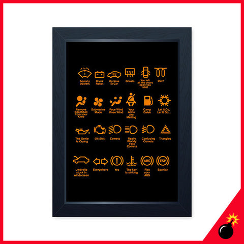 Car dashboard icons print poster gift for him or her