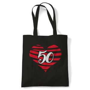 50 Heart Tote | Happy Birthday Celebration Party Getting Older | Reusable Shopping Cotton Canvas Long Handled Natural Shopper Eco-Friendly Fashion