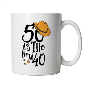 50 Is The New 40 Mug | Happy Birthday Celebration Party Getting Older | Age Related Year Birthday Novelty Gift Present | Birthday Cup Gift