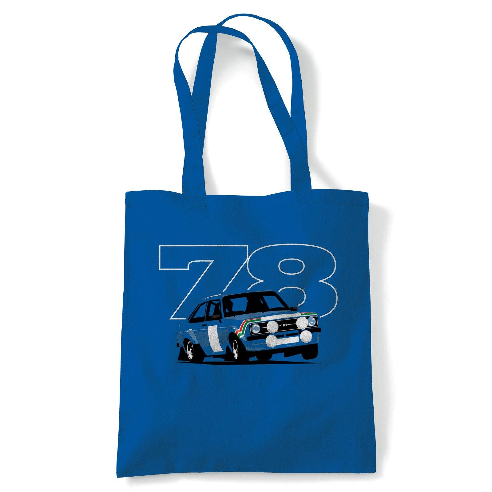 Escort Mk2 RS 1800 Rally Car Tote | GT Touring Metro Limited Drifting Classic Rally | Reusable Shopping Cotton Canvas Long Handled Natural Shopper Eco-Friendly Fashion