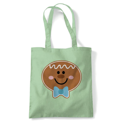 Gingerbread Man Face Tote | Christmas Xmas HoHoHo Season Greetings Merry | Reusable Shopping Cotton Canvas Long Handled Natural Shopper Eco-Friendly Fashion