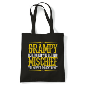 Grampy Mischief Mens Funny Tote - Birthday Fathers Day Gift for Grandad | Father Gramps Son Brother Uncle | Reusable Shopping Cotton Canvas Long Handled Natural Shopper Eco-Friendly Fashion