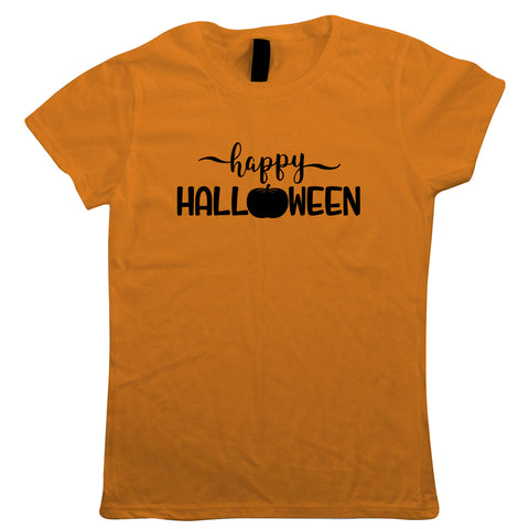 Happy Halloween Womens T-Shirt | Halloween Fancy Dress Costume Trick Or Treat | Hallows Eve Ghost Pumpkin Witch Trick Treat Spooky | Halloween Gift Her Mum