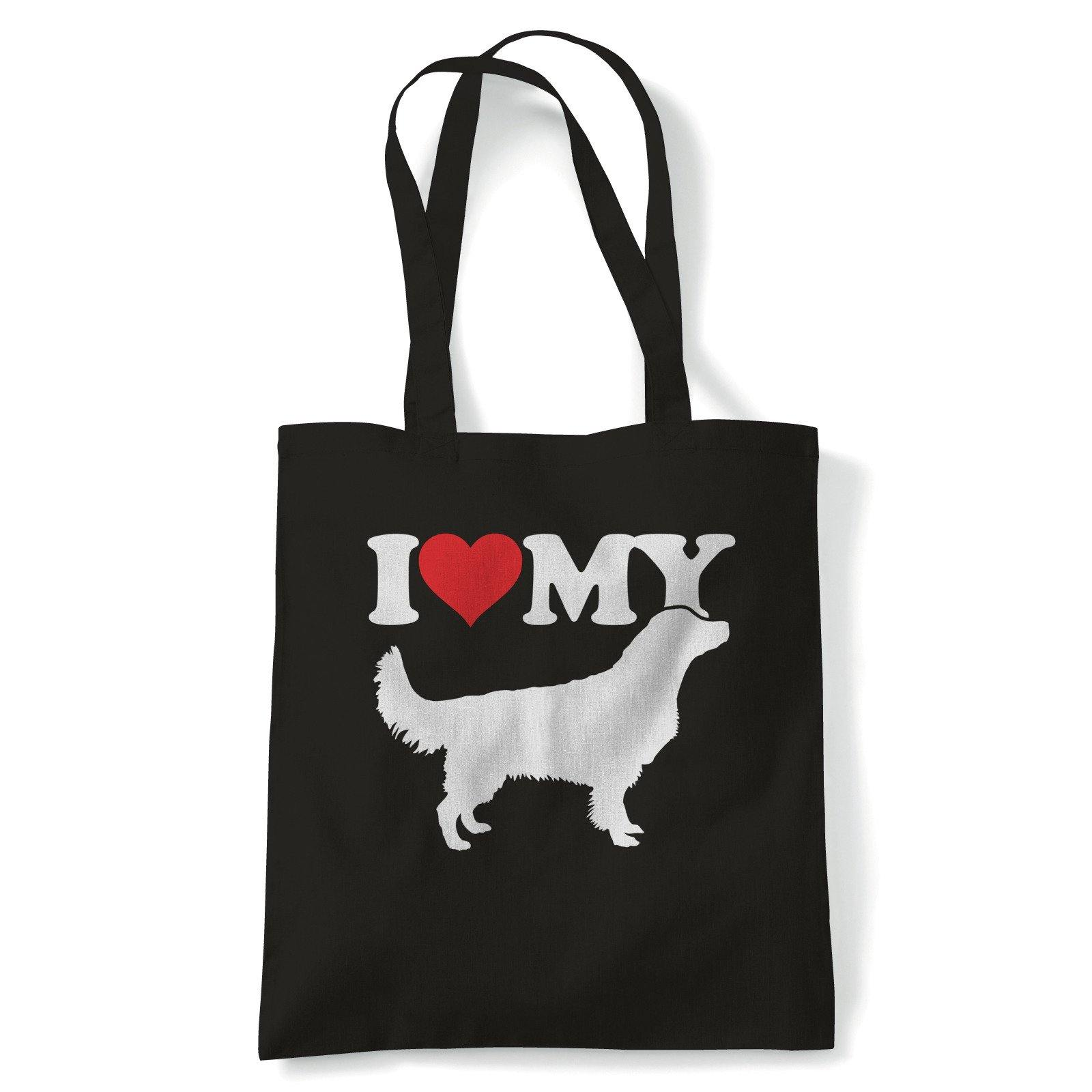 I Love My Golden Retriever Tote | Dog Gift Fur Baby Lover Owner Mans Best Friend | Reusable Shopping Cotton Canvas Long Handled Natural Shopper Eco-Friendly Fashion