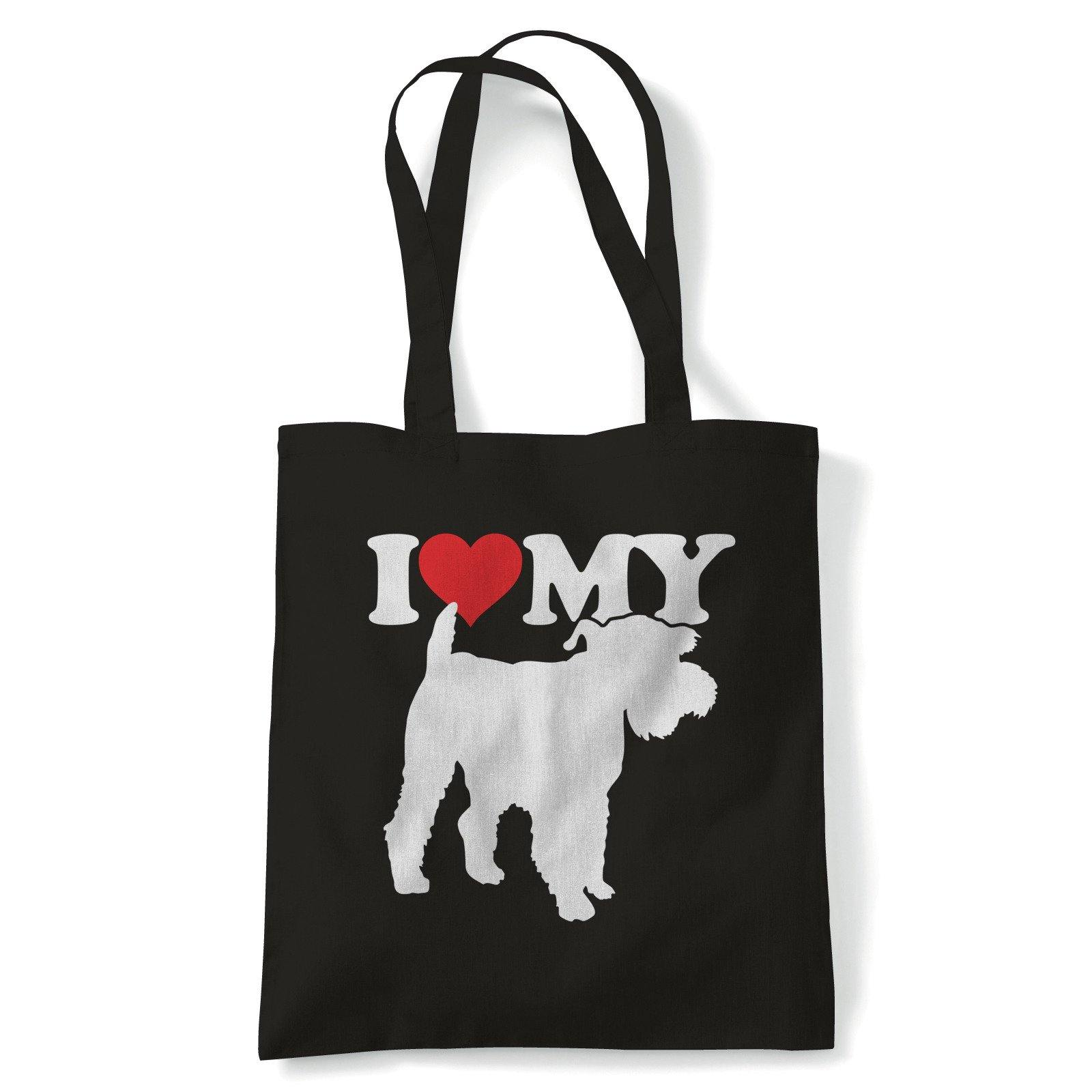 I Love My Miniature Schnauzer Tote | Dog Gift Fur Baby Lover Owner Mans Best Friend | Reusable Shopping Cotton Canvas Long Handled Natural Shopper Eco-Friendly Fashion
