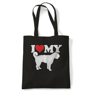 I Love My Portuguese Water Dog Tote | Dog Gift Fur Baby Lover Owner Mans Best Friend | Reusable Shopping Cotton Canvas Long Handled Natural Shopper Eco-Friendly Fashion
