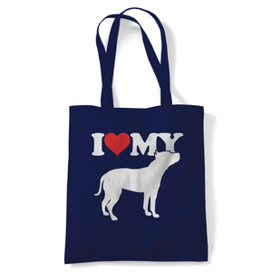 I Love My Staffordshire Bull Terrier Tote | Dog Gift Fur Baby Lover Owner Mans Best Friend | Reusable Shopping Cotton Canvas Long Handled Natural Shopper Eco-Friendly Fashion