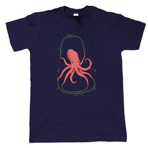 Octopus Jump Rope Mens T-Shirt | Modern Art Design Illustrator Artwork Collection |Octopus Squid Tentacles Legs Ink Squirt Mollusc | Funny Guest Artist JG Gift Him Dad