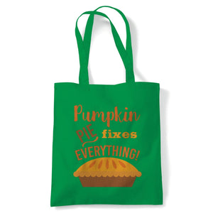 Pumpkin Pie Fixes Everything Tote | Halloween Fancy Dress Costume Trick Or Treat | Reusable Shopping Cotton Canvas Long Handled Natural Shopper Eco-Friendly Fashion