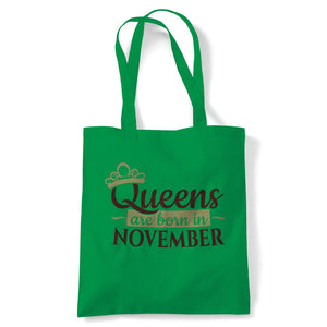 Queens Are Born In November Tote | Happy Birthday Celebration Party Getting Older | Reusable Shopping Cotton Canvas Long Handled Natural Shopper Eco-Friendly Fashion