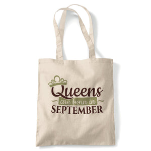 Queens Are Born In September Tote | Happy Birthday Celebration Party Getting Older | Reusable Shopping Cotton Canvas Long Handled Natural Shopper Eco-Friendly Fashion