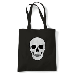 Skull Face Tote | Hallows Eve Ghost Pumpkin Witch Trick Treat Spooky | Reusable Shopping Cotton Canvas Long Handled Natural Shopper Eco-Friendly Fashion