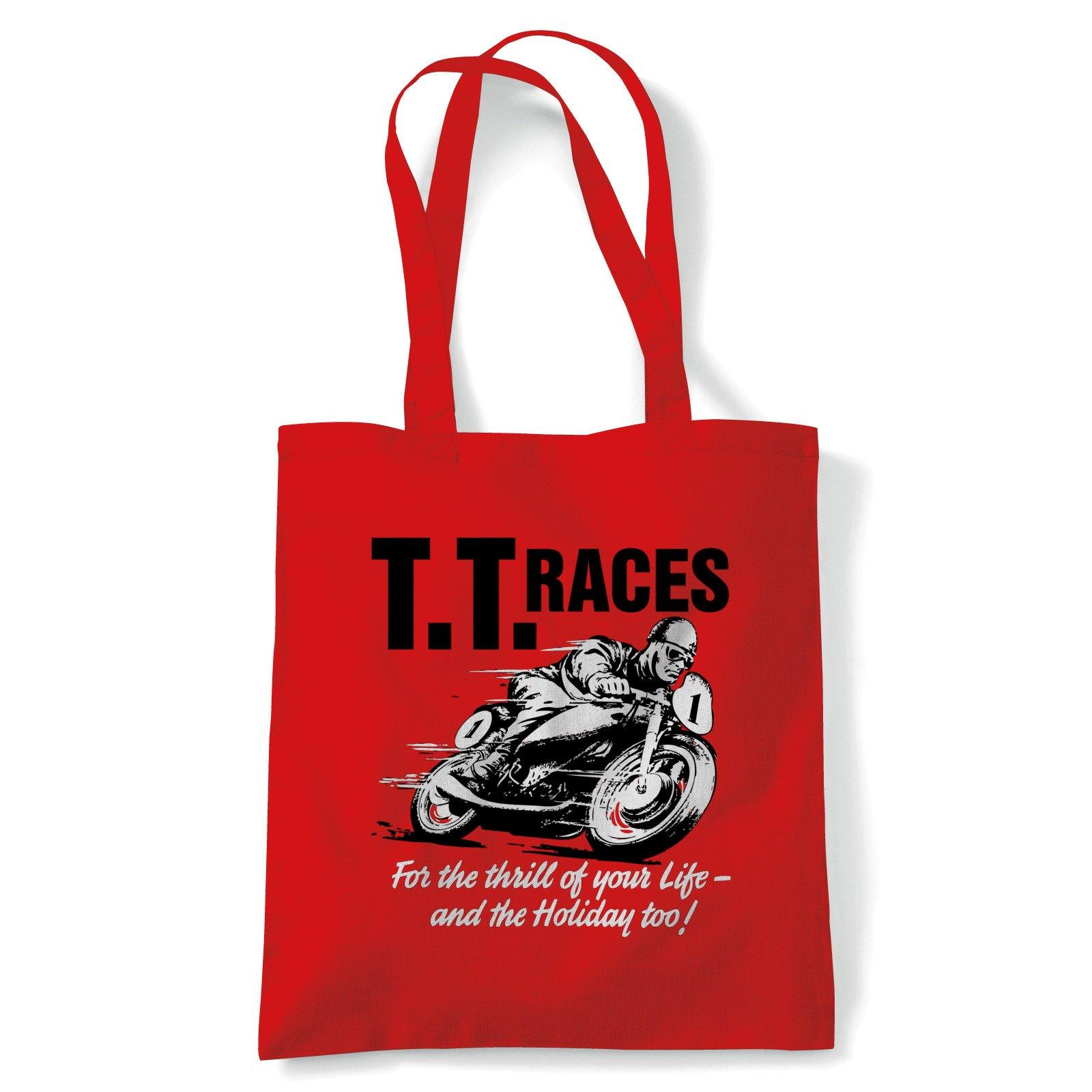 TT Races Retro Motorcycle Tote | Isle of Man TT Formula 1 Superbikes Touring Cars | Reusable Shopping Cotton Canvas Long Handled Natural Shopper Eco-Friendly Fashion