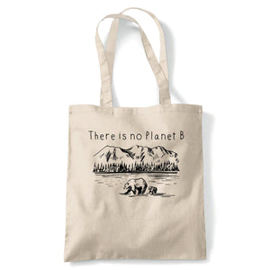 There Is No Planet B Tote | Earth Recycling Carbon Footprint Deforestation | Reusable Shopping Cotton Canvas Long Handled Natural Shopper Eco-Friendly Fashion