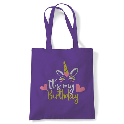Unicorn It's My Birthday Tote | Happy Birthday Celebration Party Getting Older | Reusable Shopping Cotton Canvas Long Handled Natural Shopper Eco-Friendly Fashion