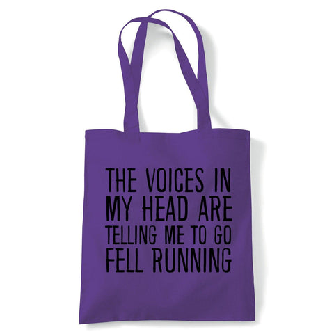 Voices In My Head Fell Running Tote | Voices My Head Crazy Funny Hobby Addiction Expert | Reusable Shopping Cotton Canvas Long Handled Natural Shopper Eco-Friendly Fashion