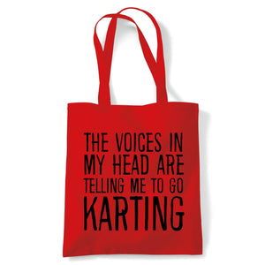 Voices In My Head Karting Tote | Voices My Head Crazy Funny Hobby Addiction Expert | Reusable Shopping Cotton Canvas Long Handled Natural Shopper Eco-Friendly Fashion