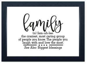 Family Definition, Quality Framed Print - Dining Kitchen Family Home Lounge