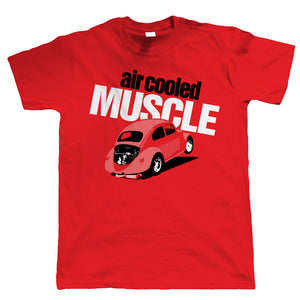 Air Cooled Muscle, Mens T Shirt - Retro Car Classic Beetle Love Bug Gift Him