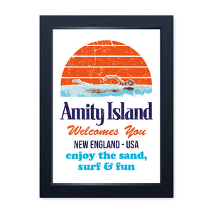Amity Island Movie Inspired, Quality Framed Print - Movie Poster Home Decor Kitchen Bathroom Man Cave Wall Art