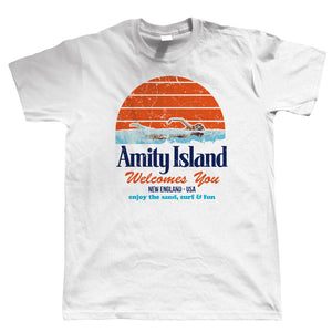Amity Island Mens Funny T Shirt | Inspired By Jaws Blockbuster Film | Shark Quints Surf Beach You're Going to Need a Bigger Boat | Cool Birthday 1975 Christmas Gift Present Him Dad Husband Movie Fan