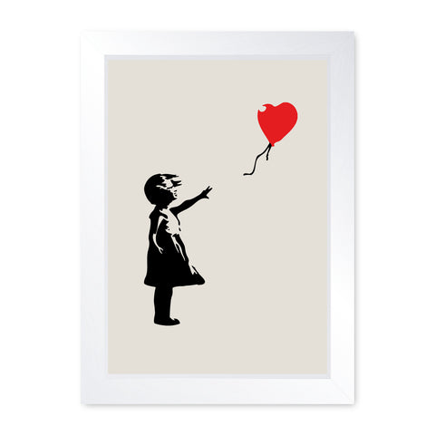 Banksy Balloon Girl, Quality Framed Print - Home Decor Kitchen Bathroom Man Cave Wall Art