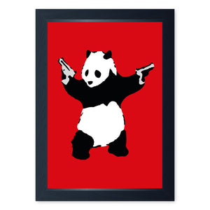 Banksy Panda With Guns, Quality Framed Print - Home Decor Kitchen Bathroom Man Cave Wall Art