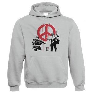 Banksy Peace Soldiers Hoodie | Banksy Graffiti Urban Style Stencil Spray Paint | Art Politics Political Pop Culture Painter | Banksy Gift Him Her Birthday