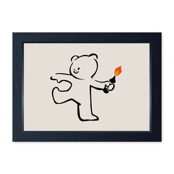 Banksy Teddy Bomber, Framed Or Frameless Poster Print Graffiti Wall Art