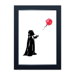 Banksy Vader With Balloon, Quality Framed Print - Home Decor Kitchen Bathroom Man Cave Wall Art