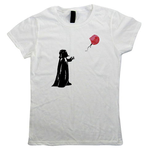 Banksy Vader Balloon Womens T-Shirts | Art Politics Political Pop Culture Painter | Banksy Graffiti Urban Style Stencil Spray Paint | Banksy Gift Her Mum
