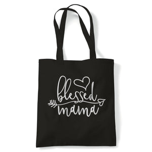Blessed Mama Heart Arrow Tote | Reusable Shopping Cotton Canvas Long Handled Natural Shopper Eco-Friendly Fashion | Gym Book Bag Birthday Present Gift Her | Multiple Colours Available