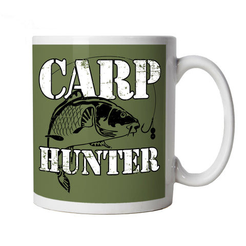Carp Hunter, Funny Fishing Mug | Coarse Sea Match Fly Specimen Tackle Fishermen Clothing Angling Angler | Cool Birthday Christmas Gift Present Him Dad Husband Son