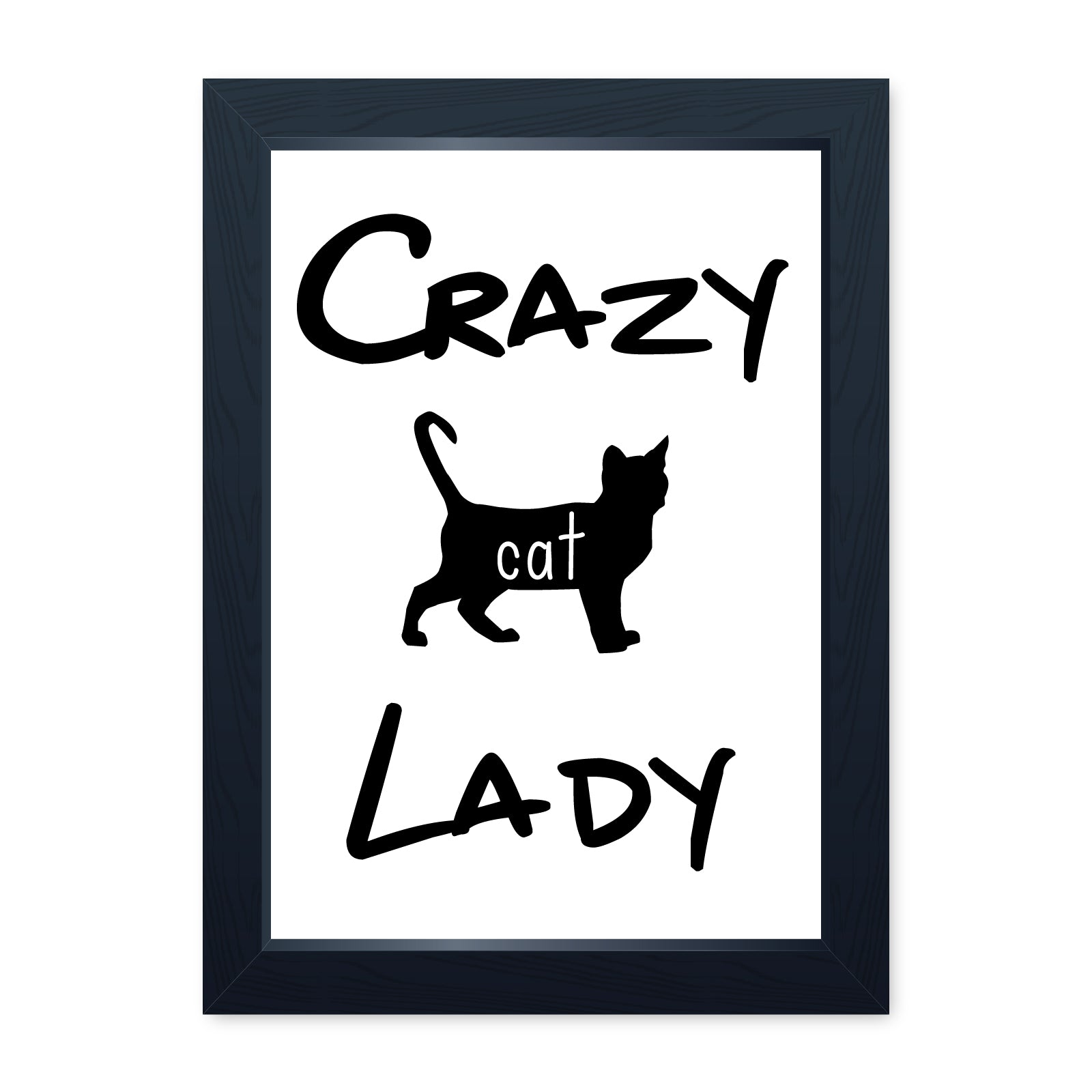 Crazy Cat Lady, Quality Framed Print - Kitchen Living Room House Art