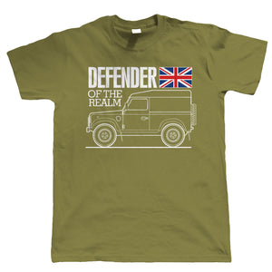 Defender Of The Realm, Mens Funny Off Road T Shirt, | 4x4 Car Four Wheel Drive 4WD Army Military Green Laning Rock Crawling | Cool Birthday Christmas Gift Present Him Dad Husband Son