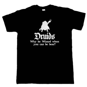 Druids Mens T-Shirt | Crimson Throne Polyhedral D20 Fifth 5th Edition | Role Play Fantasy Pen Paper Games Bag Of Holding | Geek Gift Him Dad