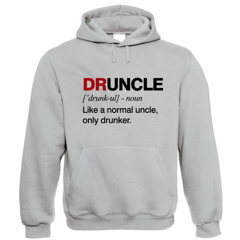 Druncle, Mens Hoodie | Funny Drunk Uncle Definition Novelty Drink Normal Drunker Drinking Beer Party Animal Legend | Birthday Xmas Fathers Day Gift Him Dad Family Brother