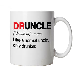 Druncle, Mens Mug | Funny Drunk Uncle Definition Novelty Drink Normal Drunker Drinking Beer Party Animal Legend Cup Tea Coffee| Birthday Xmas Fathers Day Gift Him Dad Family Brother