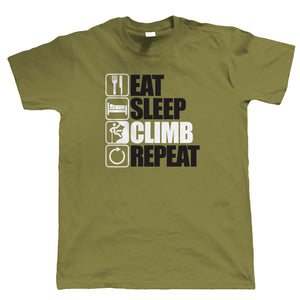 Eat Sleep Climb Repeat, Mountain Climbing T Shirt