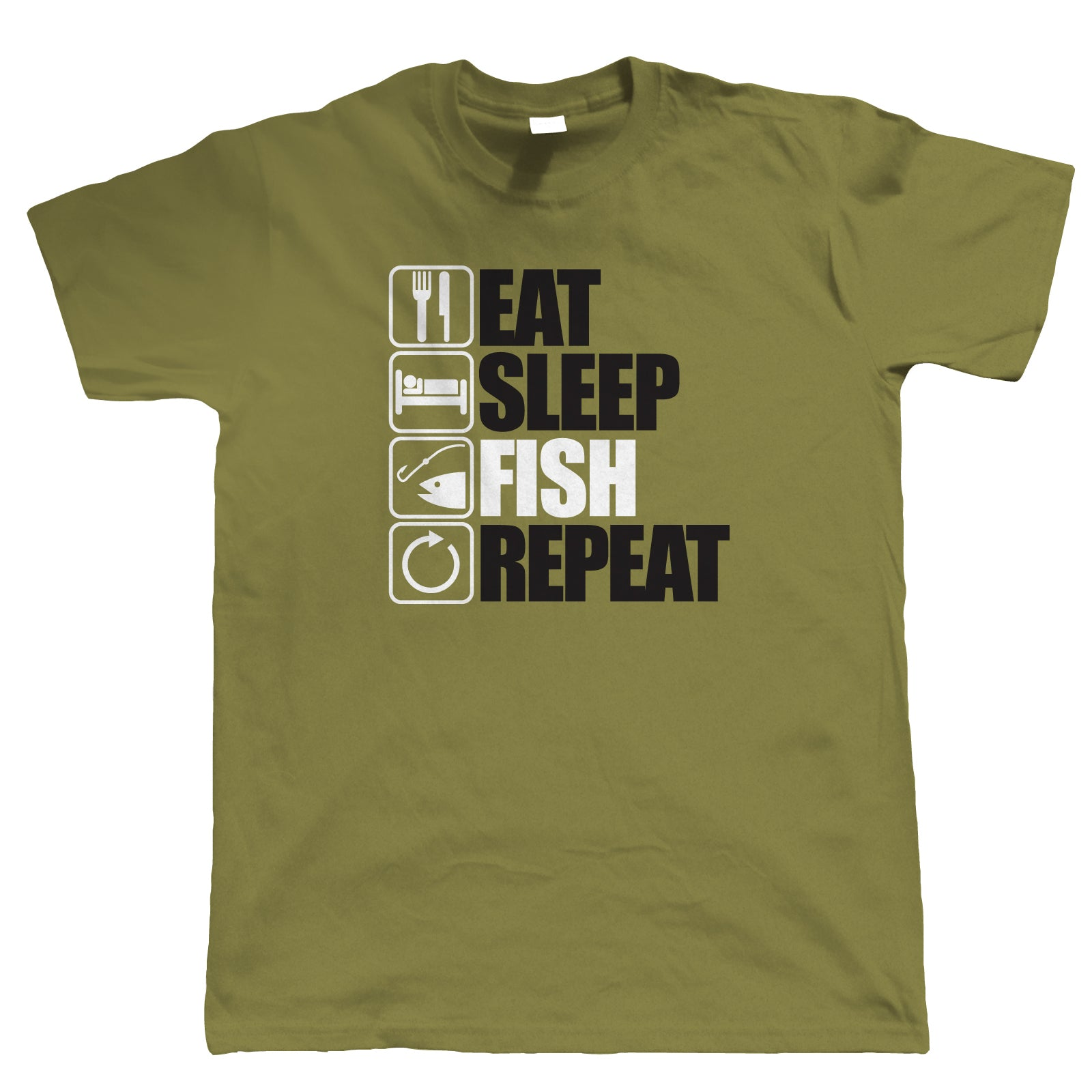 Eat Sleep Fish Repeat, Mens Funny Fishing T Shirt | Coarse Carp Sea Match Fly Specimen Tackle Fishermen Clothing Angling Angler | Cool Birthday Christmas Gift Present Him Dad Husband Son Grandad